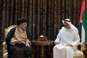 Abu Dhabi Crown Prince Sheikh Mohammed bin Zayed al-Nahayan meets with Iraqi Shi'ite leader Moqtada al-Sadr in Abu Dhabi, United Arab Emirates, August 13, 2017. Picture taken August 13, 2017. Emirates News Agency WAM/Handout via REUTERS